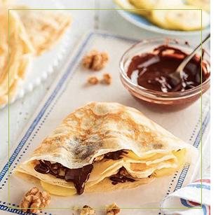 Zespri kiwi recette - crêpe kiwi zespri sungold, chocolat, banane et noix